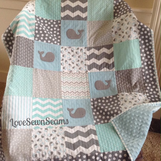Aqua and Gray Whale quilt