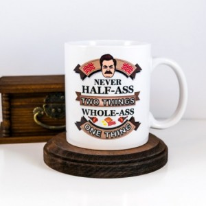 Husband Gift, Valentines Gift, Ron Swanson Mug | Never Half Ass Two Things | One Thing | Parks and Recreation  | Gift for Him | Cuevex Mugs