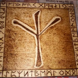 "Algiz Rune - Pyrography Woodburning 4""x4"" - Viking Norse House Warming Protection"