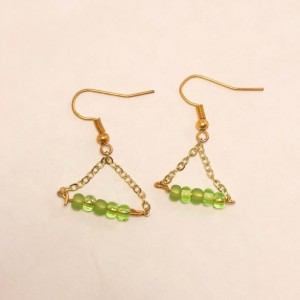 Gold & green triangle earrings for Mother's Day  gift bridal jewelry for wedding