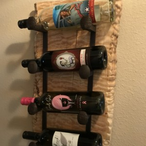 Wine Rack, Live Edge Quilted Maple