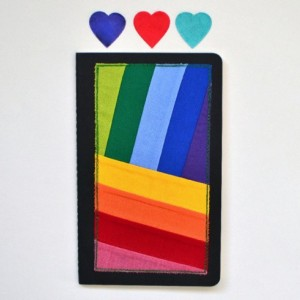 Rainbow Moleskine notebook -- handmade decorated journal
