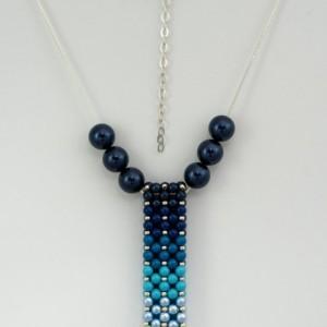 Blue Ombre' Swarovski Pearl Vertical Slide Bar Pendant necklace Pantone 2020