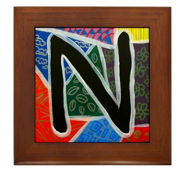 """Folk Art - Letter """"N"""" - FRAMED TILE By Artist A.V.Aposte"""