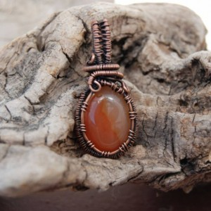 Small Carnelian Pendant - Hand Crafted Copper Necklace with Orange Stone