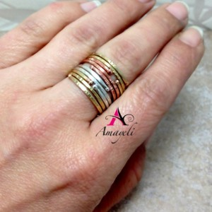 Stackable rings, mixed metals, Midi rings, stacking rings, copper, silver, brass, gold rings, layered, three ring set, ring set