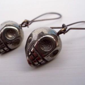 Pyrite Skull Earrings