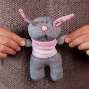 Sock Rabbit Toy - Stuffed Animal Doll, Small Personalized Gift for Babies, Kids or Women, Soft and Handmade