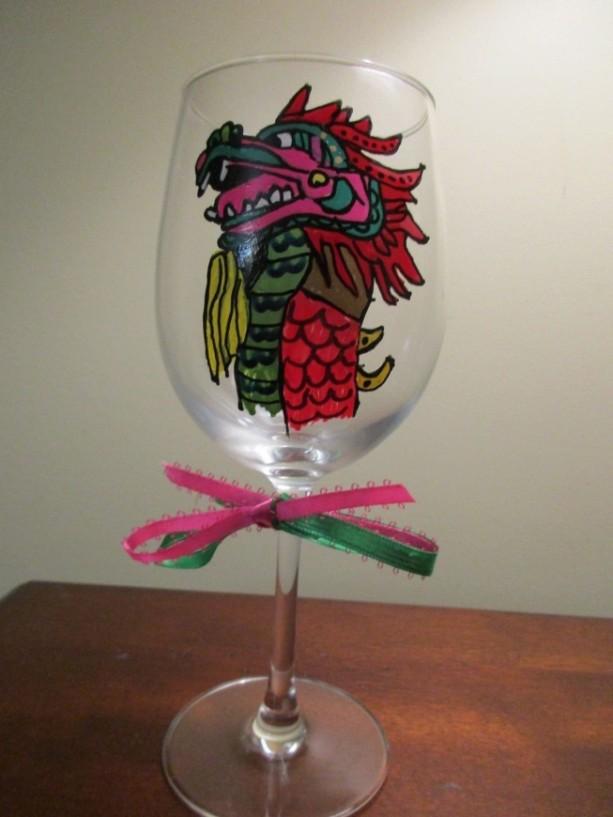 Painted Wine Glass Folk Art Dragon 12oz.