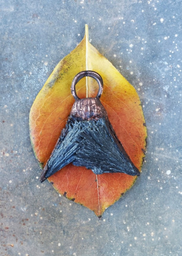 Black Kyanite Double Point Copper Pendant
