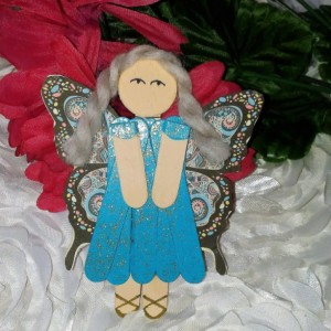 Sparkling Teal Blue Wood Pixie Charm / Hanging Pixie Art / Gift for Girl / Gift for Angel Lover