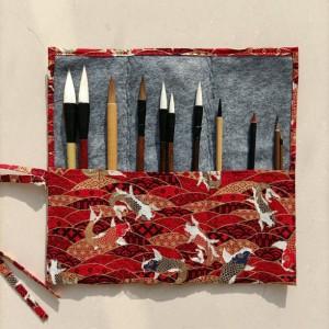 11 Pcs of Chinese Calligraphy Brush Set - Including Brush Pen and Brush Holder   Red Carp Pattern Pen Holder