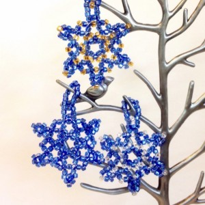 3 Beaded Snowflake Ornaments, Blue, Gold, and Silver Beaded Christmas Ornaments, Christmas Decoration, Handmade Seed Bead Holiday Ornament