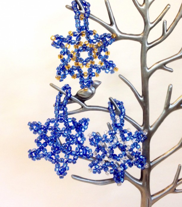 3 beaded snowflake ornaments blue gold and silver beaded christmas ornaments christmas - Blue And Gold Christmas Decorations