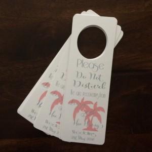 Wedding Door Hanger- Set of 10 hangers. personalized door hanger for out of town guests. Destination wedding door sign