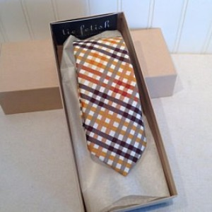 Butterscotch, cream, brown and grey plaid custom neck tie
