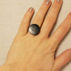 Authentic Iconic Designer Button Ring Black, Insignia Ring Classic Designer Up-Cycled Button Jewelry