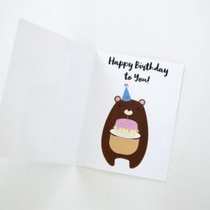 Happy Birthday Peek-a-boo Bear Greeting Card (Bear Holding Birthday Cake Inside)