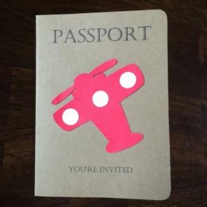 Passport Invitation Vintage Airplane - hot air balloon-Kids Birthday Party Invitation- set of 15