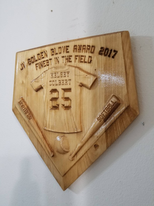 Personalized Home Plate Baseball Softball V Carved Wooden