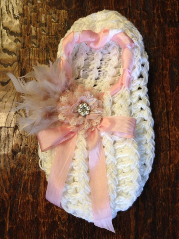 White Newborn Cocoon with Pink Silk Ribbon