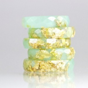 Resin Ring - Jade Green Faceted Eco Resin Ring with Gold Flakes