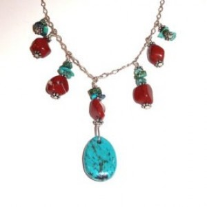 Turquoise Country Girl Chic Teardrop and Sterling Silver Chain Necklace