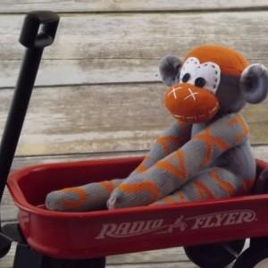 Sock monkey : University of Texas ( Bill ) ~ The original handmade plush animal made by Chiki Monkeys