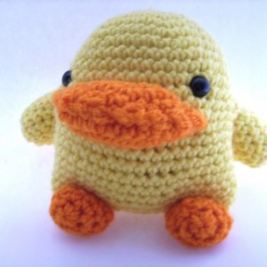 Yellow Crochet Toy Duck Easter Basket Filler