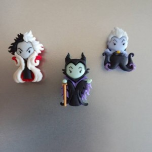 Magnets, 3 Strong Refrigerator Magnets, Cubicle Decor, Locker Magnets, Office Supply,Cruella de Vil, Maleficent and Ursula Magnets