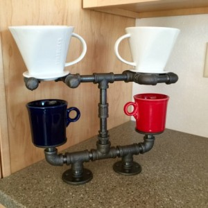 Pour Over Coffee Maker, Coffee Lovers Dream!!Double Cup Stand is Hand Crafted with Heavy Duty Industrial Black Iron Pipe, Unique Style