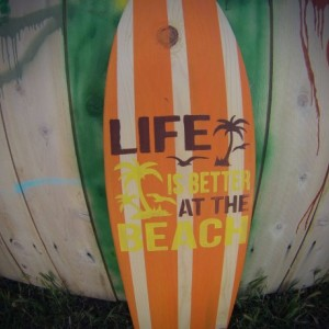 Life Is better at the Beach - Hanging Surf Board Sign