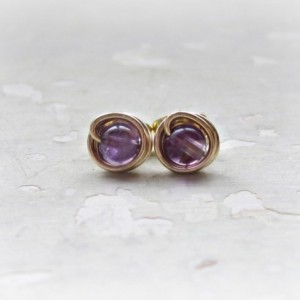 Amethyst Post Earrings, Tiny Stud Earrings, February Birthstone, Purple Post Earrings, Gemstone Studs, Small Posts, Amethyst Stud Earring