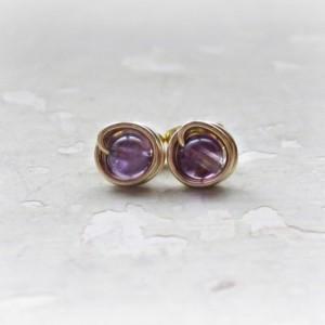 Amethyst Post Earrings, Tiny Stud Earrings, February Birthstone, Purple Post Earrings, Gemstone Studs, Small Posts, Amethyst Stud Earring