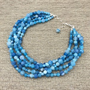 Chunky Blue Statement Necklace, Chunky Necklace, Weathered Agate Necklace, Blue Beaded Necklace, Multi Strand Blue Agate Necklace
