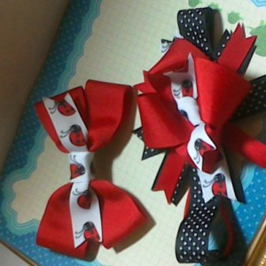 Boutique style girls baby toddler child set of 2 Ladybug hairbow and headband matching set
