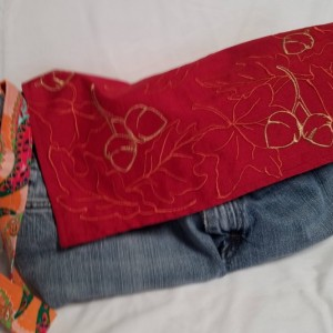 Autumn Leaves-Eco-Friendly handbag-made with Reclaimed denim jeans-Purse/Handbag/Carry-all Bag, Gift for women, Fully Lined - Ready to ship