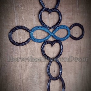 Horseshoe Blue Infinity Heart Cross, Western  Wedding Decor, Country Wedding DECOR, Barn wedding, love art,Home decor, religious Cross art,
