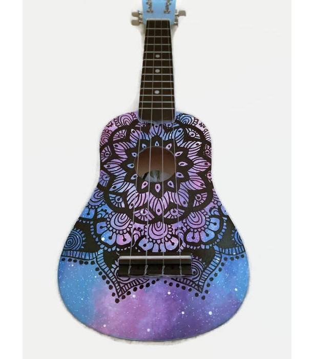Concert Galaxy Mandala Ukulele, Hand Painted Ukulele, Decorated Ukulele, Galaxy Paint, instrument, ukelele, soprano, tenor, baritone, guitar