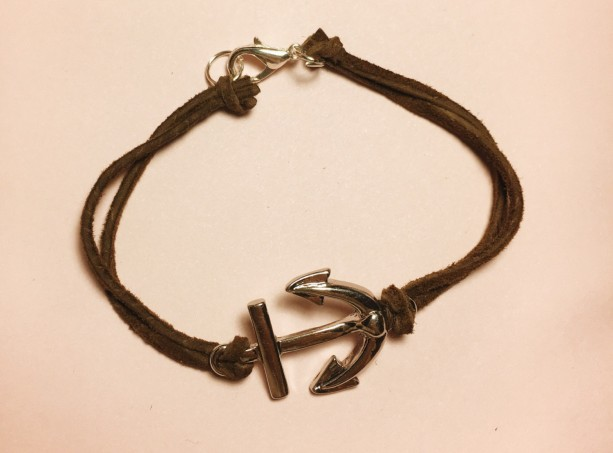 Brown Leather Bracelet, Charm Bracelet with Anchor Charm