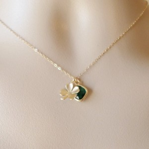Gold Four Leaf Clover and Emerald Necklace - Clover Necklace - Gold Good Luck Necklace - Cluster Necklace - Valentines Day