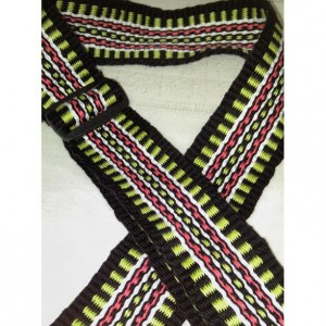 Handwoven Guitar Strap, Acoustic Guitar Strap, Electric Guitar Strap, Banjo Strap, Bass Strap,green, salmon, white, and black 2 1/4""
