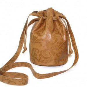 Camel Leather Bucket Bag, tan leather crossbody, embossed women's purse