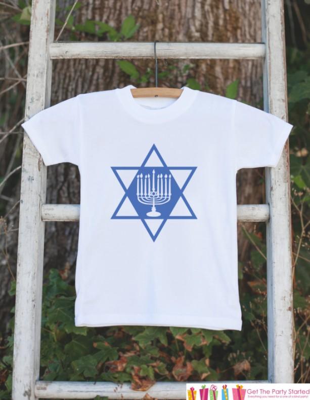Menorah Hanukkah Outfit - Kids Hanukkah Onepiece or Shirt - Holiday Outfit for Newborn, Baby, Toddler, Youth - Hanukkah Gift Idea - Dreidel