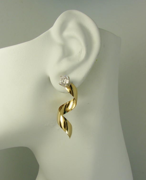 Gold Earring Jackets For Studs Diamond Enhancer Stud Jacket 14k Filled Gemstone Dangle Spiral