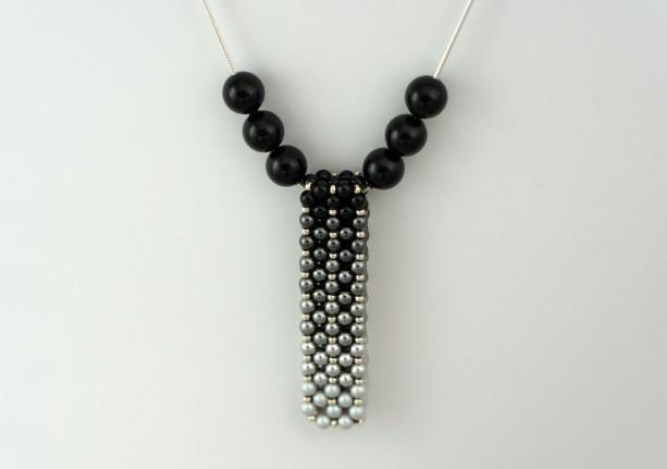 Ombre' Swarovski Pearl Vertical Slide Bar Pendant necklace
