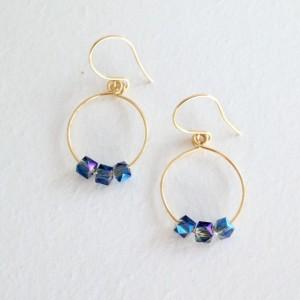 Gold hoops, hoop earrings, blue and gold earrings, beaded hoops, silver hoops, jewelry, earrings, small hoop earrings, gifts for her