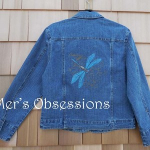 Women's Denim Jacket with Embroidered Dragonfly