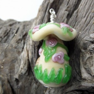 Toadstool Fairy House Glass Pendant with Pink Roses