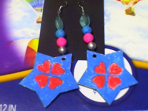 Hand Painted Wood Star and Heart earrings. Blue and Red